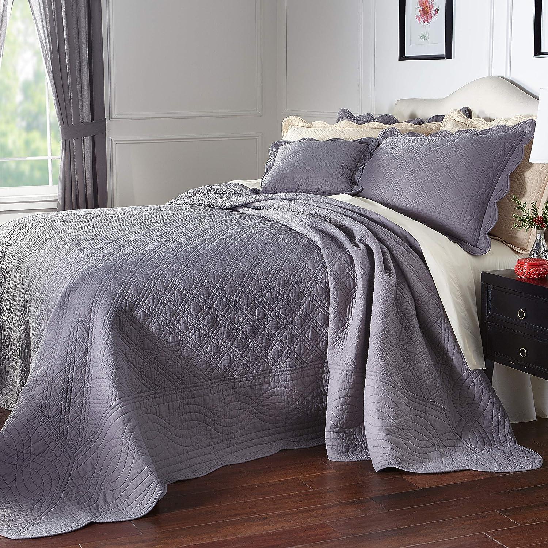 96 x 110 Oversized Brown Stripe Full Bedspread Floor Extra Long Tan Off White