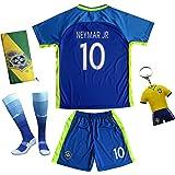 BRAZIL NEYMAR JR #10 Away Blue Football Soccer Kids Jersey Short Socks Set Youth Sizes