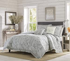 Tommy Bahama | Floreanna Bedding Collection Quality Ultra Soft Breathable Cotton Comforter, All Season Premium 5 Piece Set, Designed for Home Hotel Décor, King, Grey