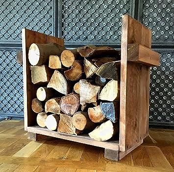Kaminholzregal St/änder Kaminholz Kaminholzst/änder Kaminholzablage wei/ß shabby aus Holz fertig montiert