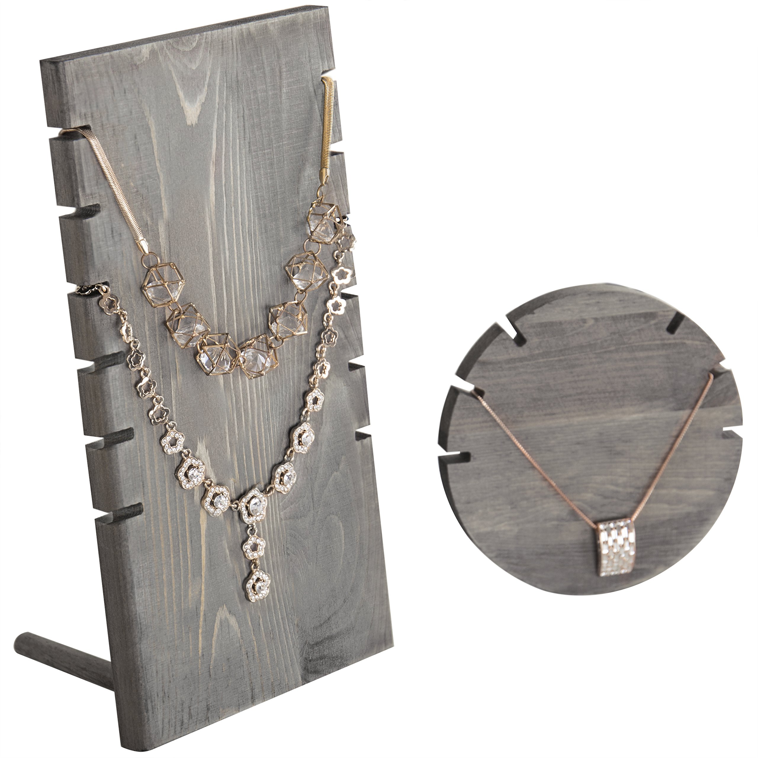 MyGift Set of 2 Wood Plank & Disc Necklace Display Stands, Gray
