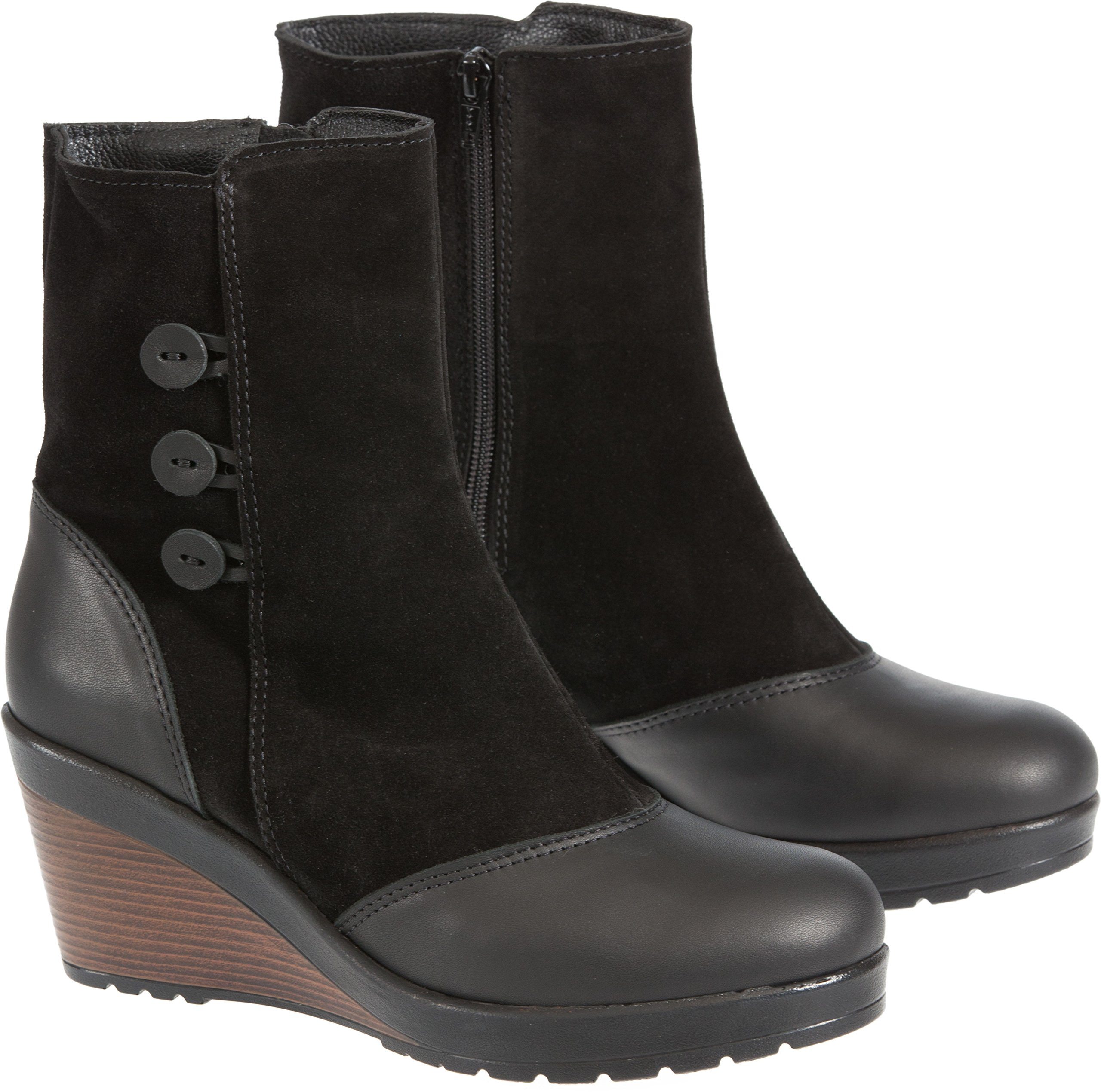 Overland Sheepskin Co. Women's Drew Wool-Lined Waterproof Italian Leather Wedge Boots, Black Leather/Suede, Size EU38