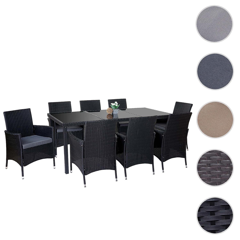Poly-Rattan-Garnitur Terni, Garten Sitzgruppe Tisch + 8 Sessel, Alu ...