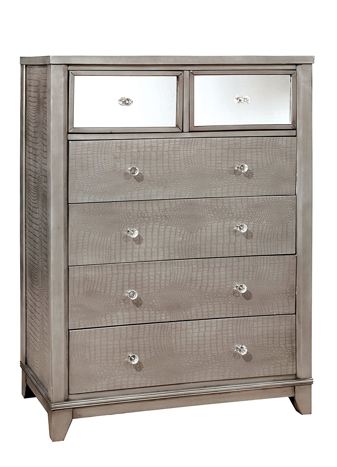 Amazon com furniture of america nilean contemporary chest of drawers silver kitchen dining