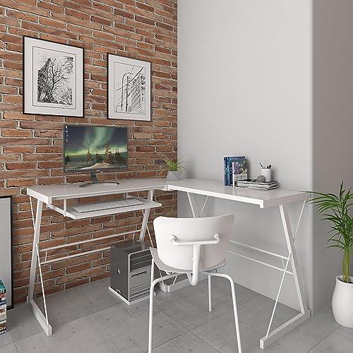 Ryan Rove Madison Contemporary 3-Piece Corner Space Saving L-Shaped Computer Desk