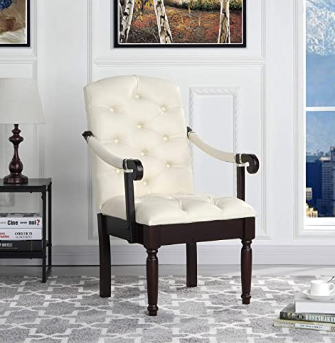 Victorian Tufted Faux Leather Accent Chair – Armchair for Home, Kitchen and Living Room, Traditional Accent Chairs with Arms Wooden Legs Ivory
