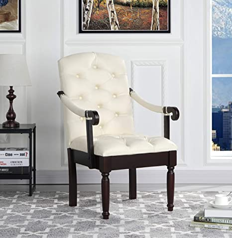Victorian Tufted Faux Leather Accent Chair - Armchair for Home, Kitchen and  Living Room, Traditional Accent Chairs with Arms & Wooden Legs (Ivory)…