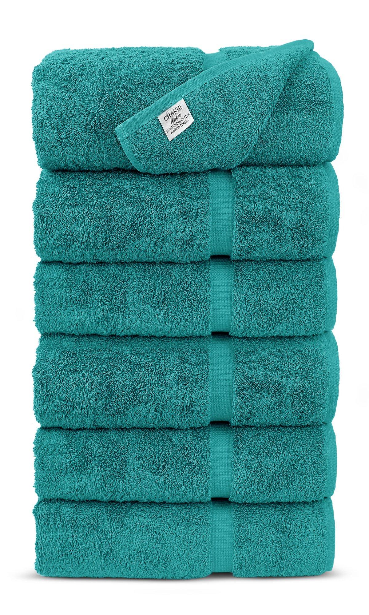 Luxury Premium long-stable Hotel & Spa Turkish Cotton 6-Piece Eco-Friendly Hand Towel Set (Aqua)