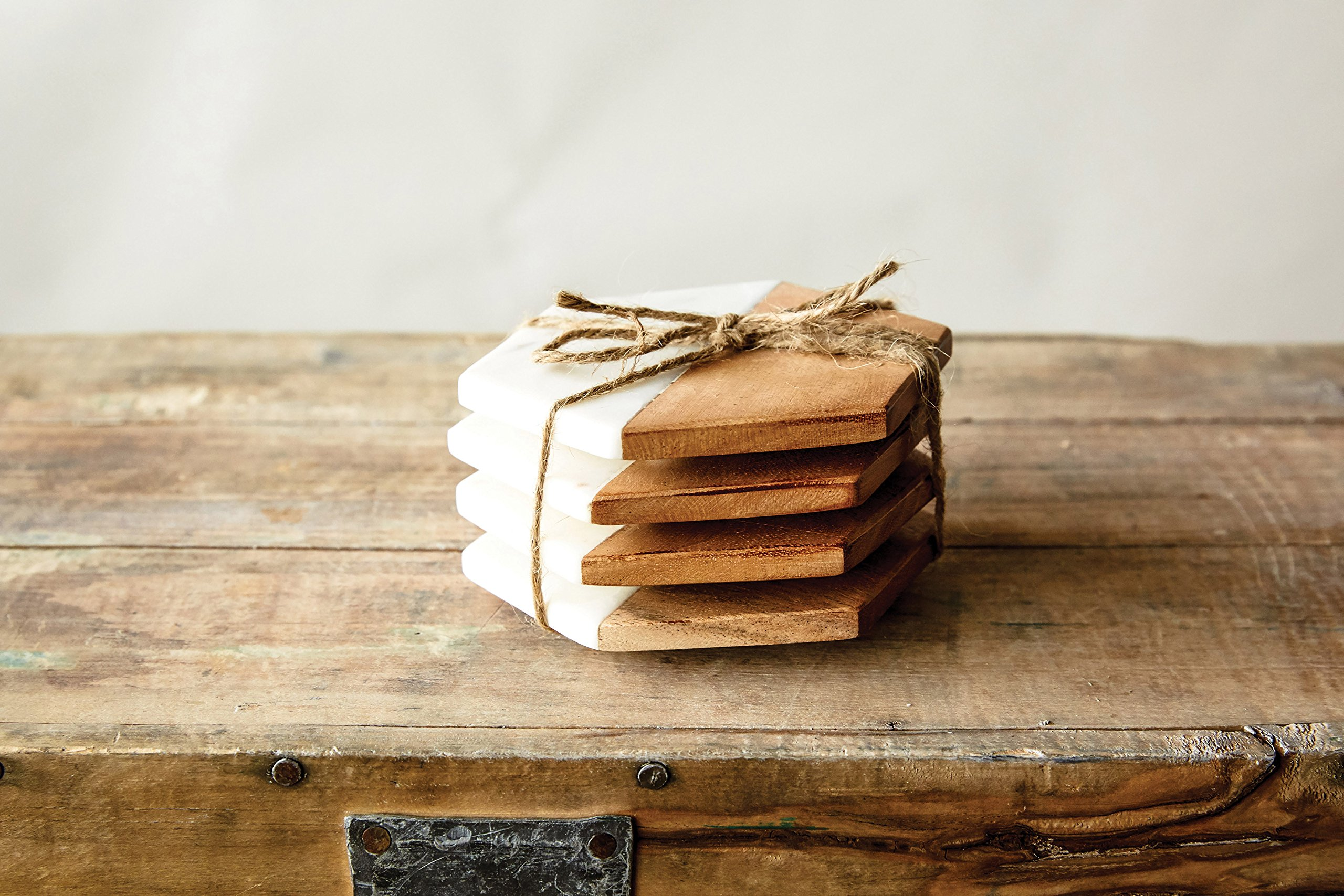 Creative Co-Op DA6336 Set of 4 Marble & Mango Wood Hexagon Coasters by Creative Co-op (Image #2)