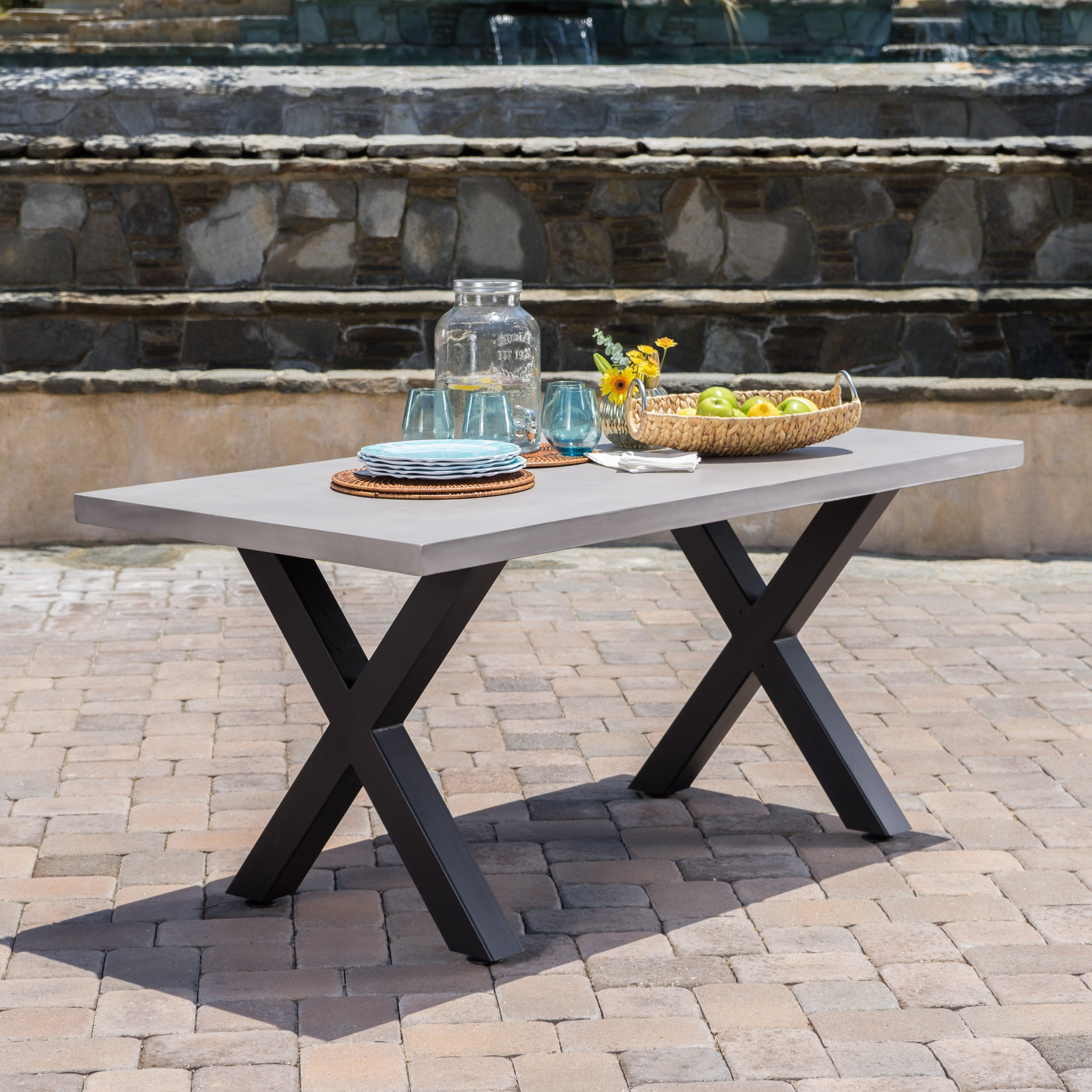 Galatian Outdoor White Light Weight Concrete Dining Table w/ Black Iron Legs by GDF Studio
