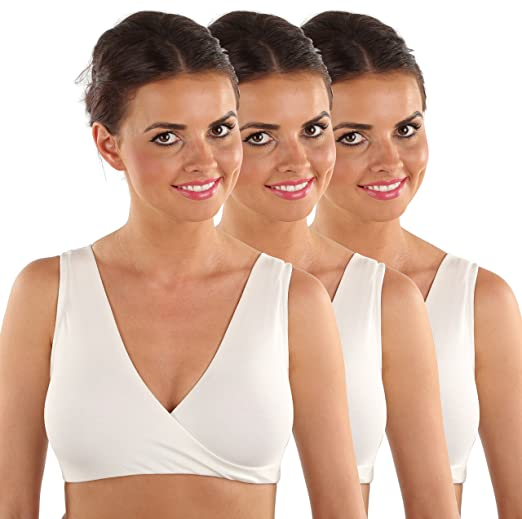 67d8f62de0b52 VEAMI Nursing Sleep Bra-Silk White (3-Pack)-X-Large at Amazon Women s  Clothing store