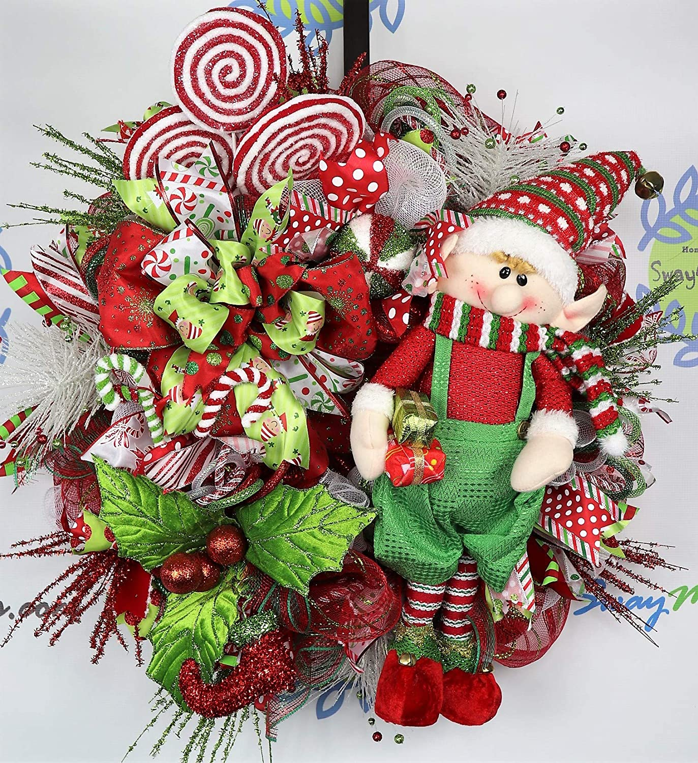 CANDY PEPPERMINT XMAS ORNAMENT FLORAL TREE DECOR STAR RED WHITE GREEN NEW WREATH