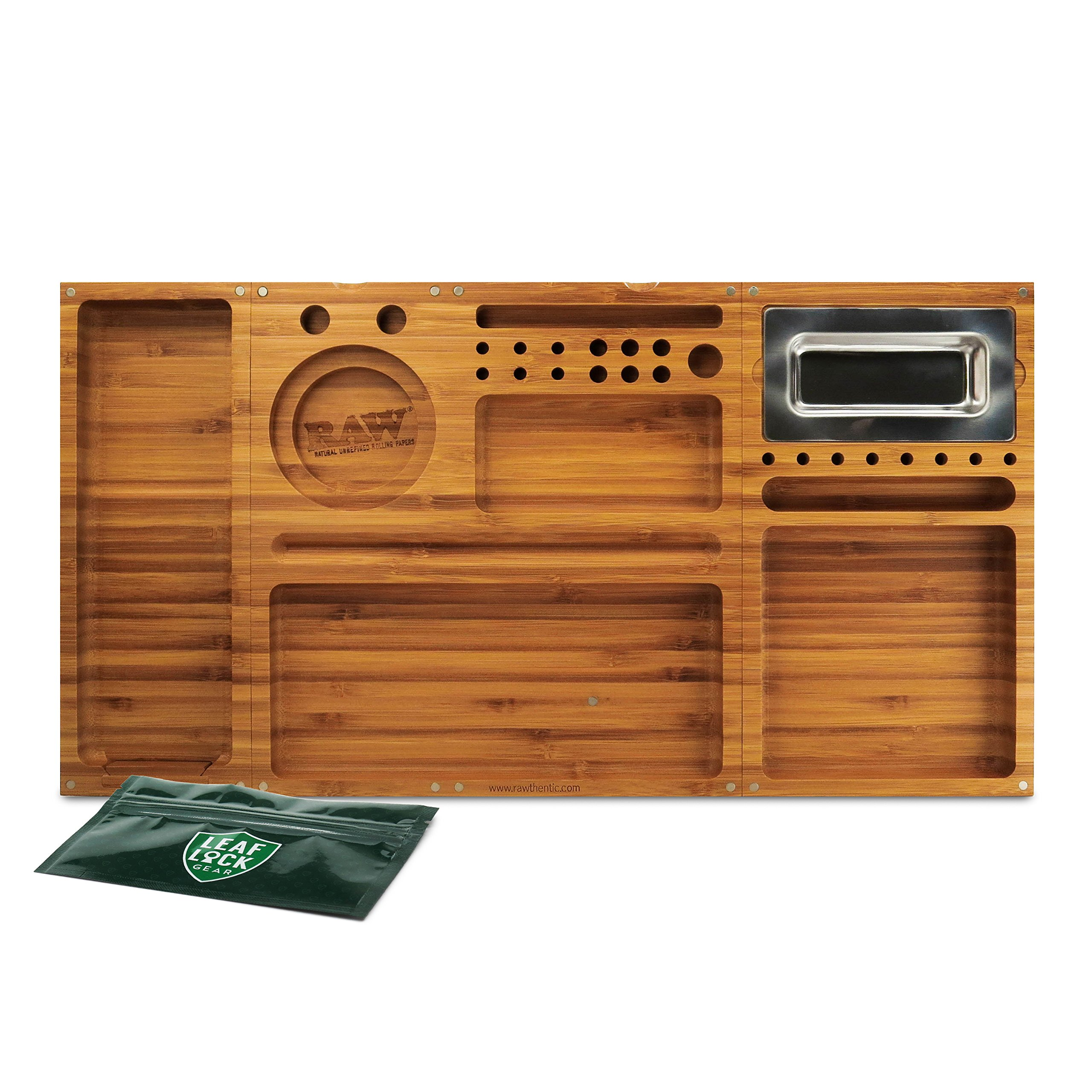 RAW Triple Flip Magnetic Bamboo Rolling Tray with Leaf Lock Gear Smell Proof Tobacco Pouch