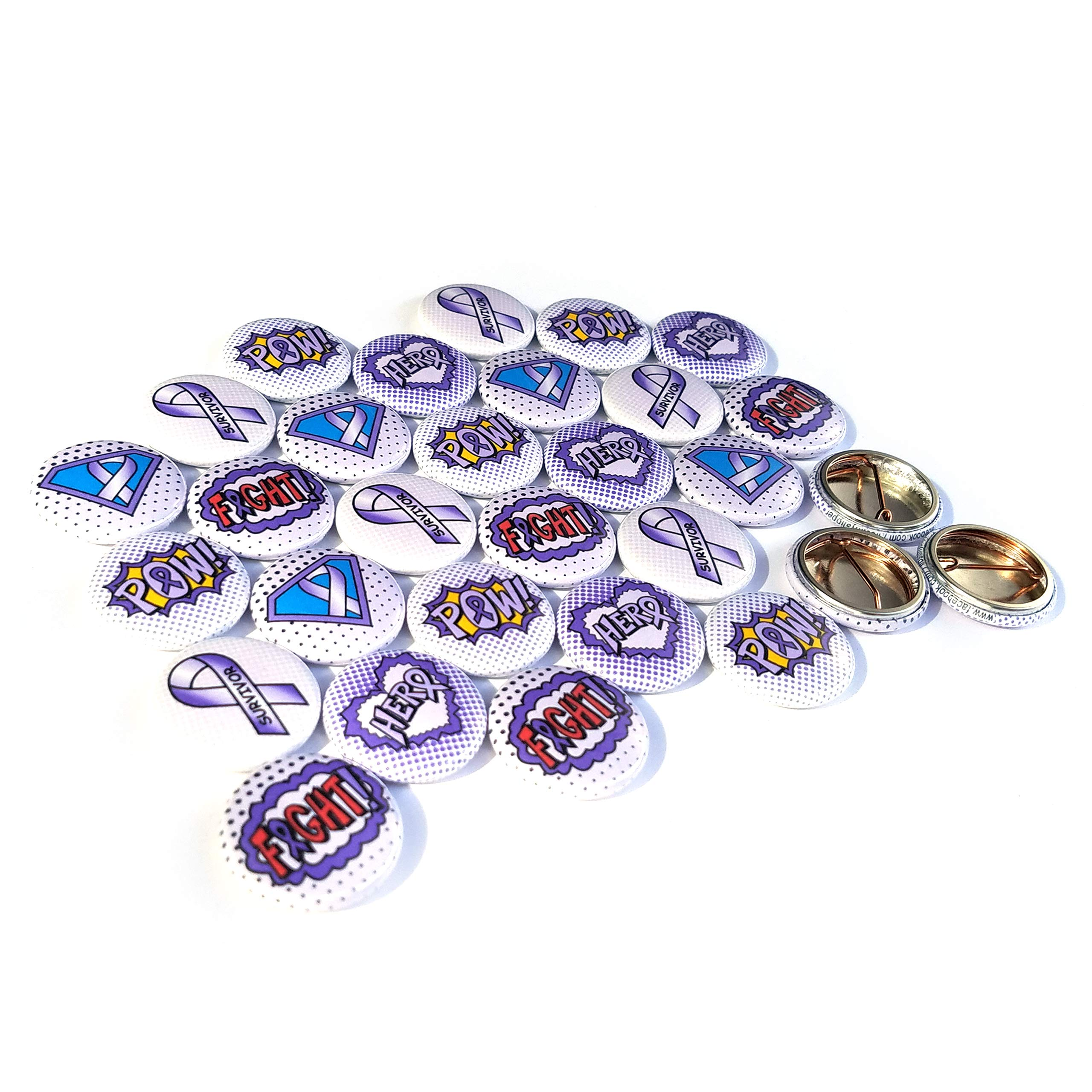 Superhero Awareness Pins - LAVENDER. All Cancer Awareness, Craniosynostosis, Epilepsy, Gynecological Cancer, Hypokalemic Periodic Paralysis, Infantile Spasms, Rett Syndrome. (1'' Pins, 30 Piece Set) by ILMS (Image #2)