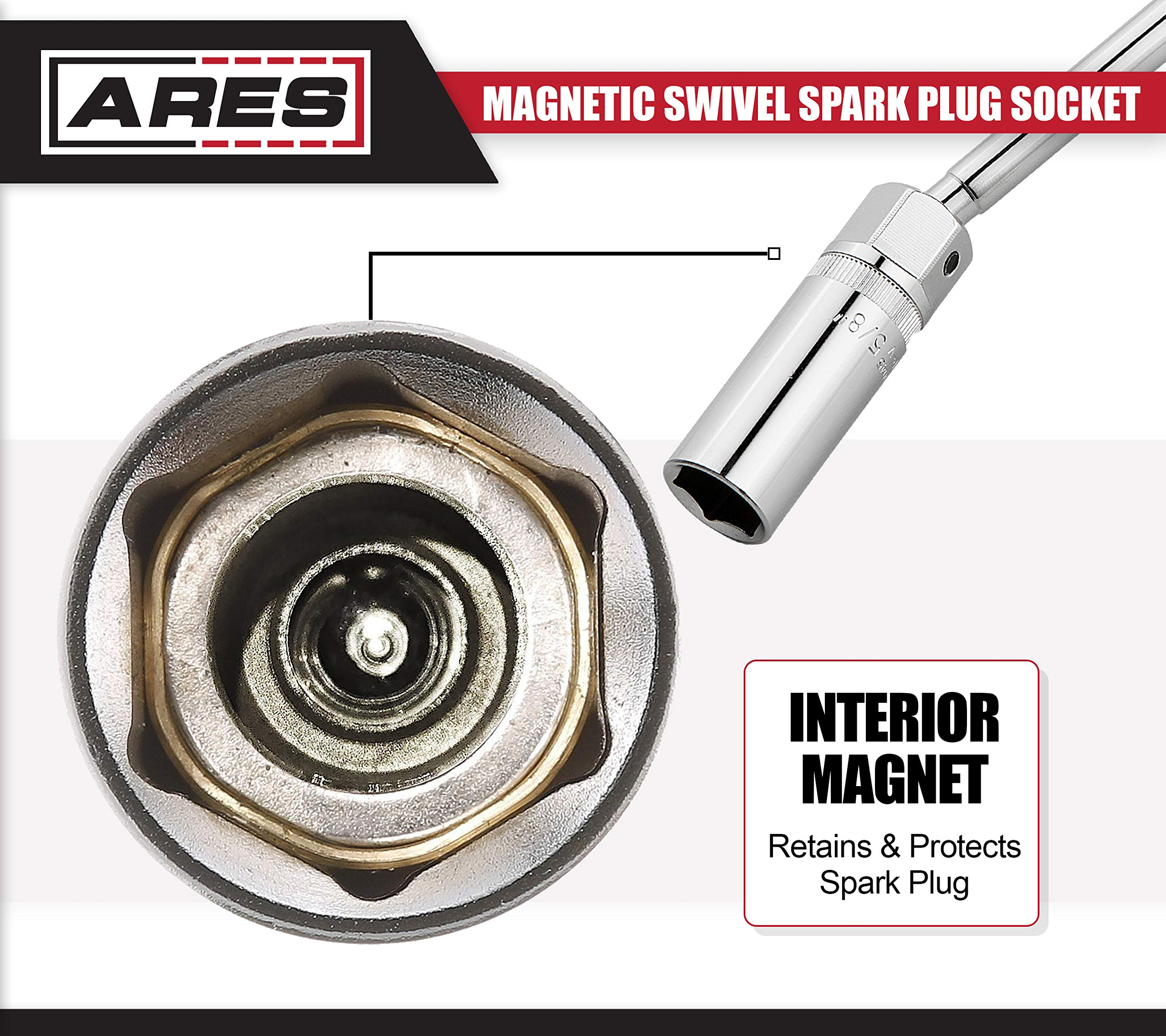 ARES 70045 | 3/8-inch Drive by 5/8-inch Magnetic Swivel Spark Plug Socket | 10-inch Swivel Extension Permits Access to Most Confined Areas by ARES (Image #4)
