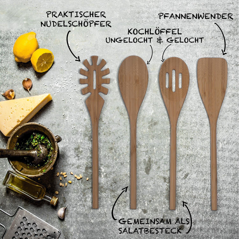 Basil Holz Küchenhelfer Set im praktischen 4er Set - Natürliche ...