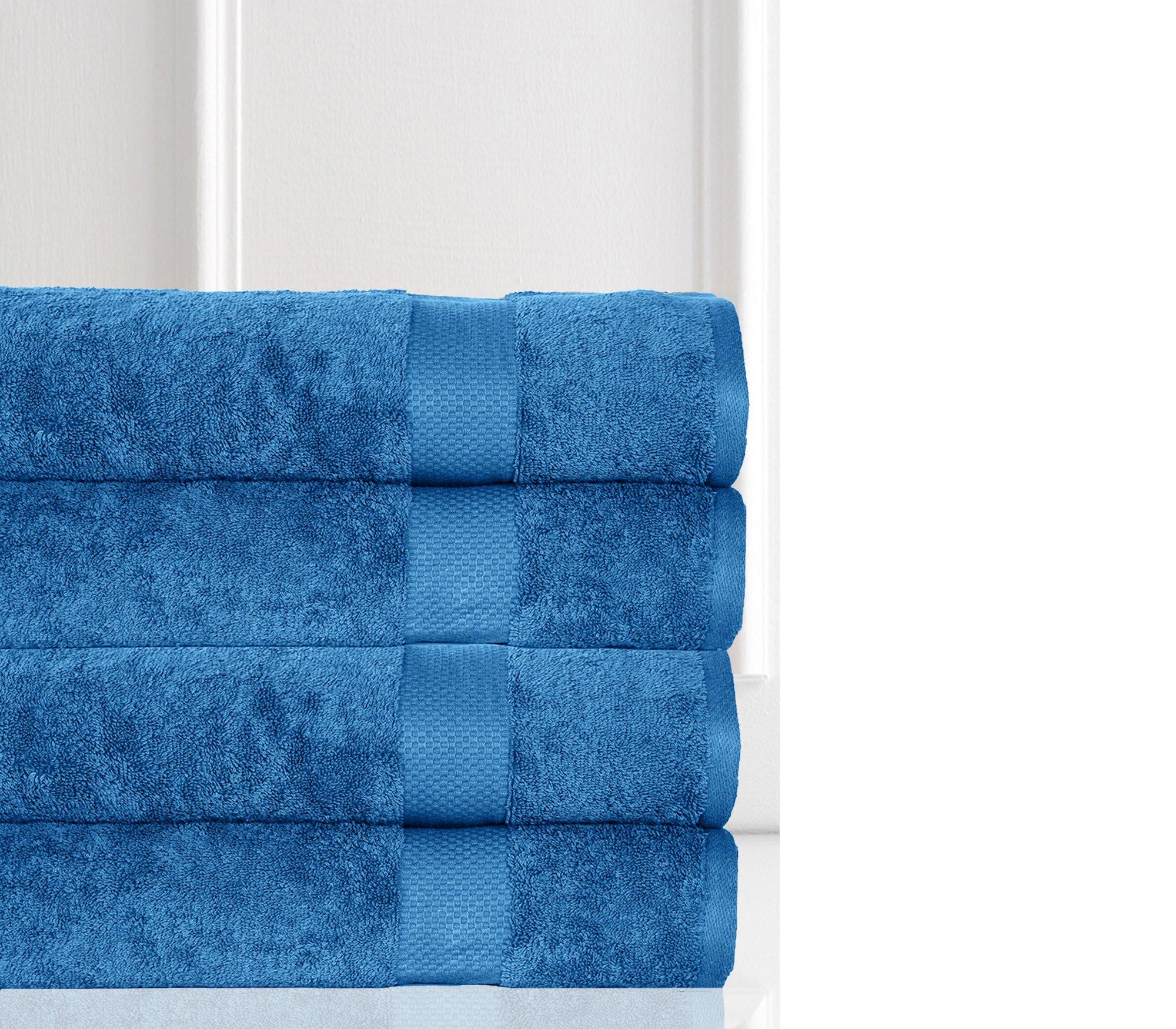 Casa Platino Elegance Spa ESP4 100% Combed Cotton Oversized 4 Piece Bath Sheets, Blue Stone by Casa Platino (Image #2)