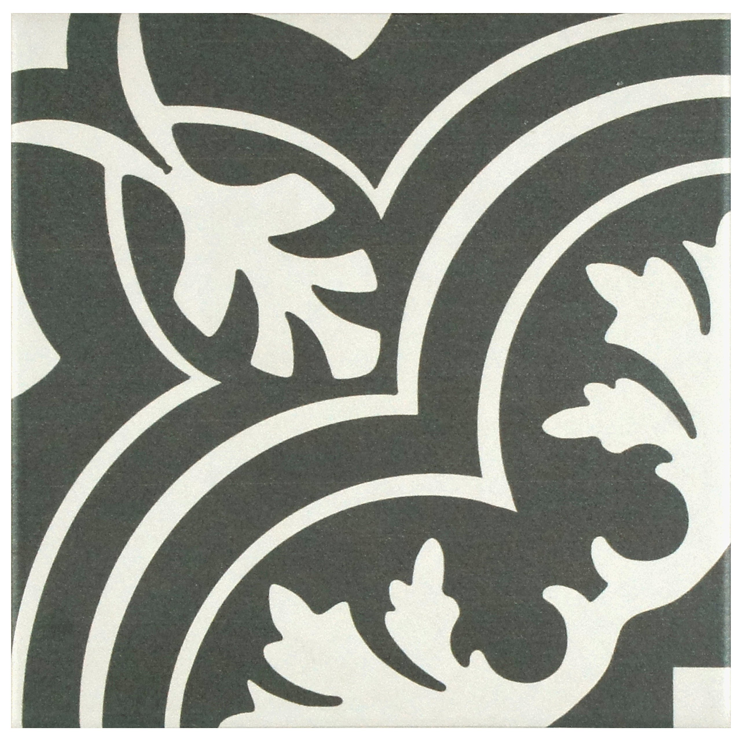 SomerTile FRC8TWCL Fifties Ceramic Floor and Wall Tile, 7.75'' x 7.75'', White/Grey
