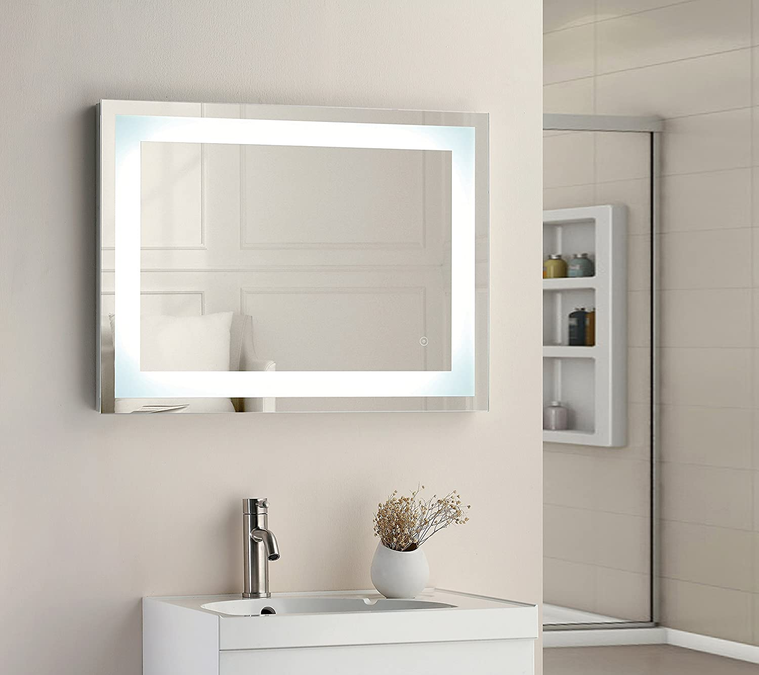 800 x 600mm Square LED Illuminated Touch Bathroom Mirror Demister IP44 Tailored Plumb