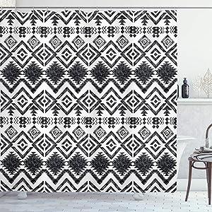 Ambesonne Tribal Shower Curtain, Hand Drawn Style Tribal Pattern Geometric and Oranmental Aztec Design Print, Cloth Fabric Bathroom Decor Set with Hooks, 75