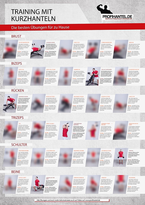 Póster tamaño XXL con diseño de entrenamiento con mancuernas que incluye los mejores 30 ejercicios (texto en alemán): Amazon.es: Deportes y aire libre