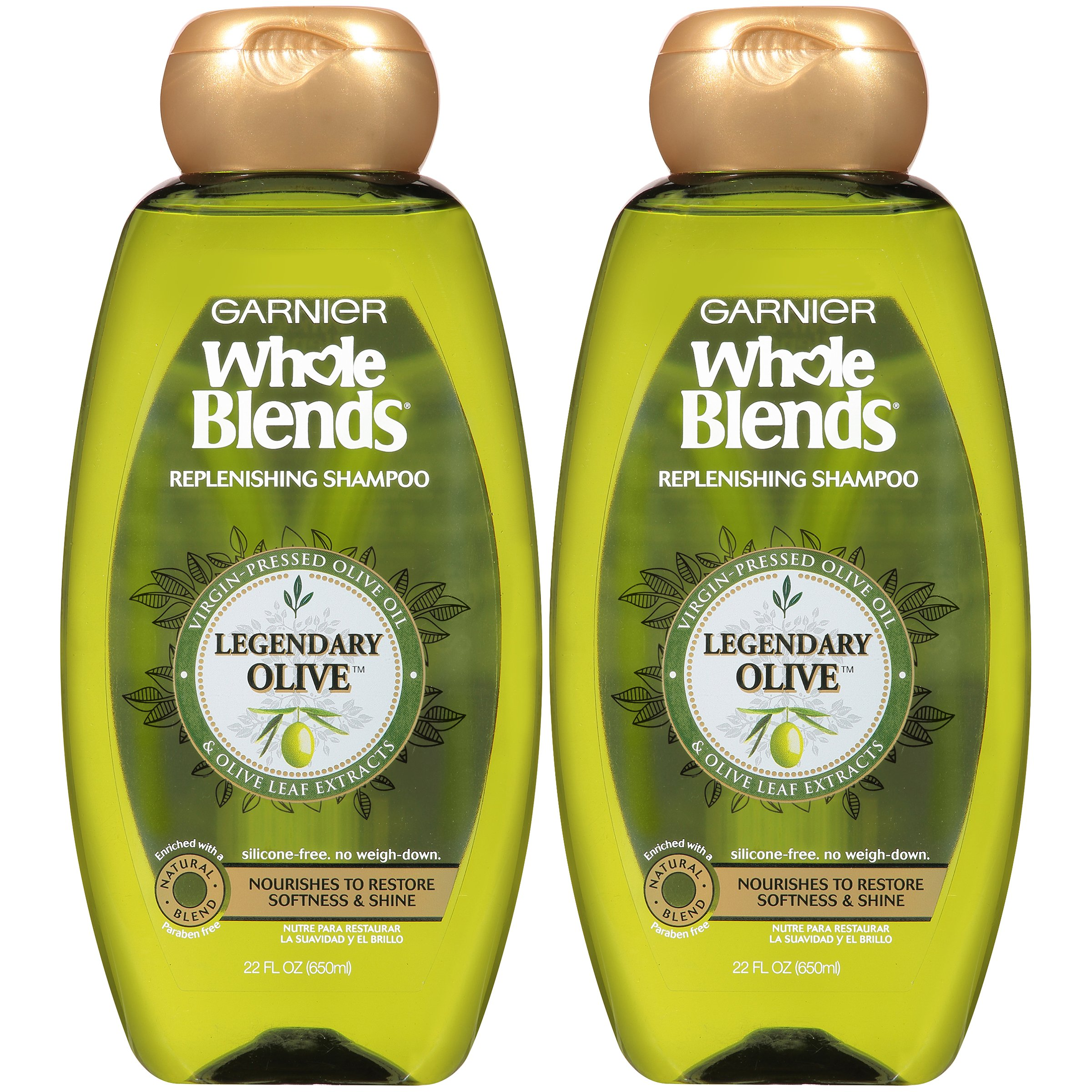 Garnier Hair Care Whole Blends Replenishing Shampoo Legendary Olive for Dry Hair, 2 Count