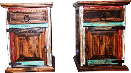 Set of 2 Matching Rustic Distressed Reclaimed Wood Nightstand End Table with Drawer and Bottom Shelf Multi Color