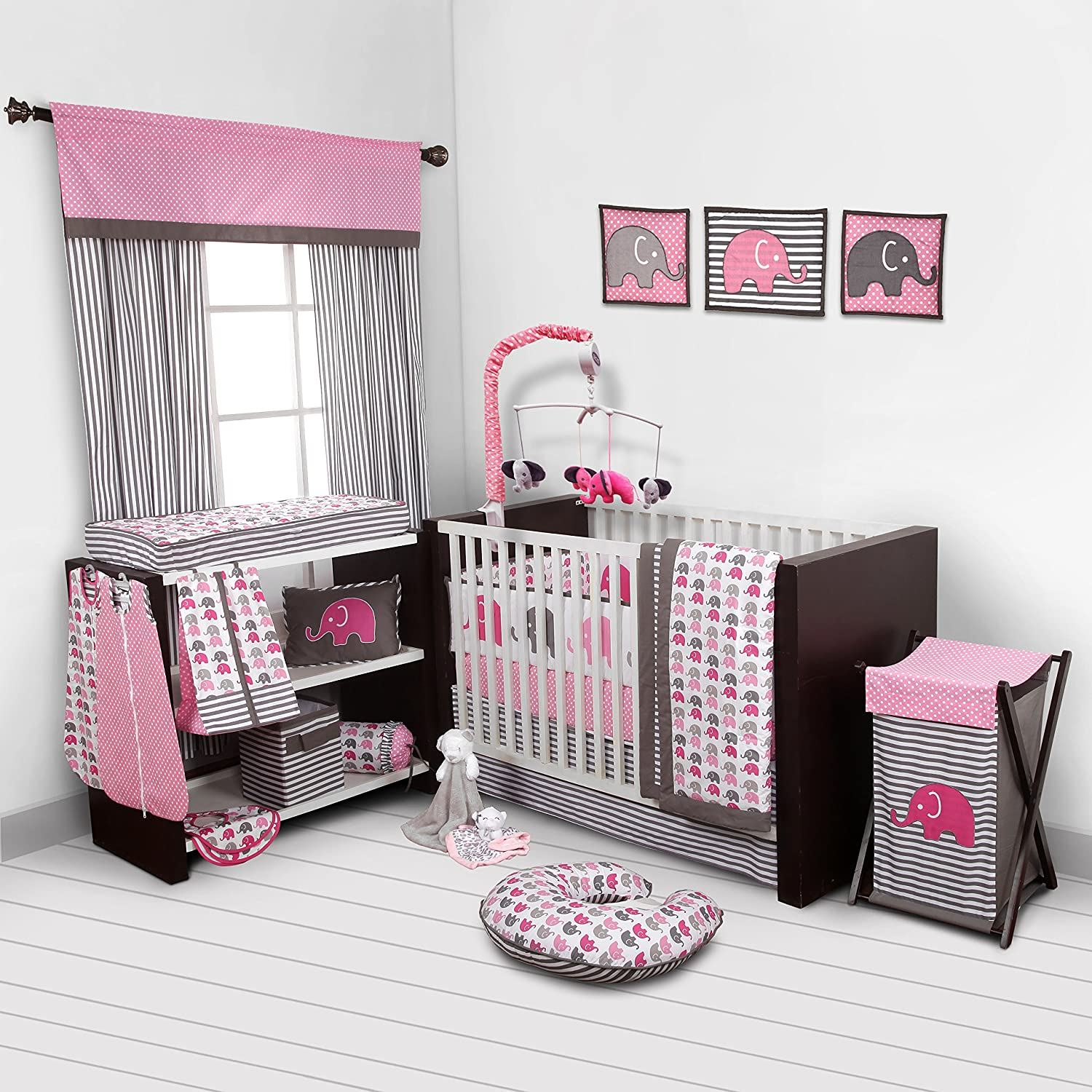 Amazon Elephants Pink Grey 10 pc crib set including Bumper Pad