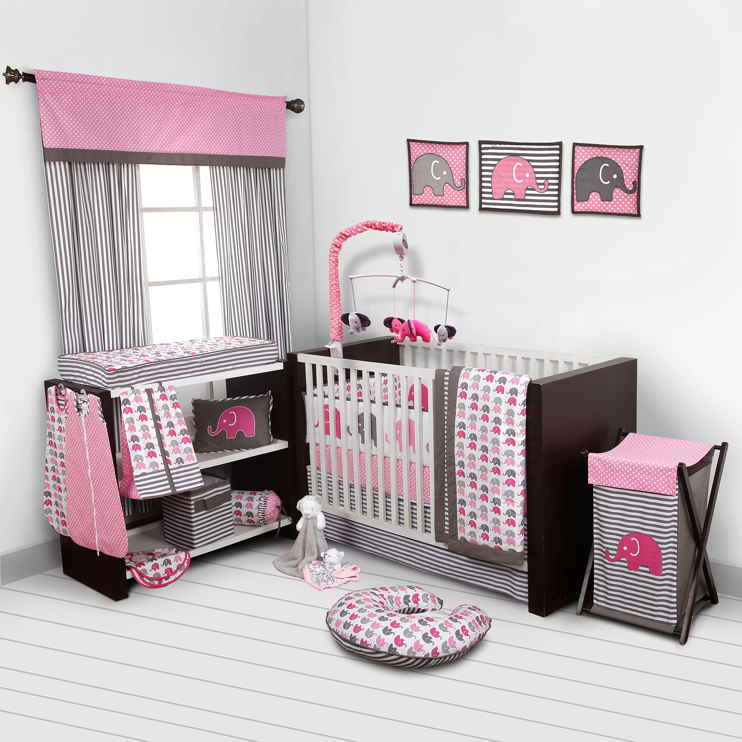 Details about Baby Girl Bedroom Set Nursery Bedding Elephants Pink Grey 10  pc Crib Infant Room