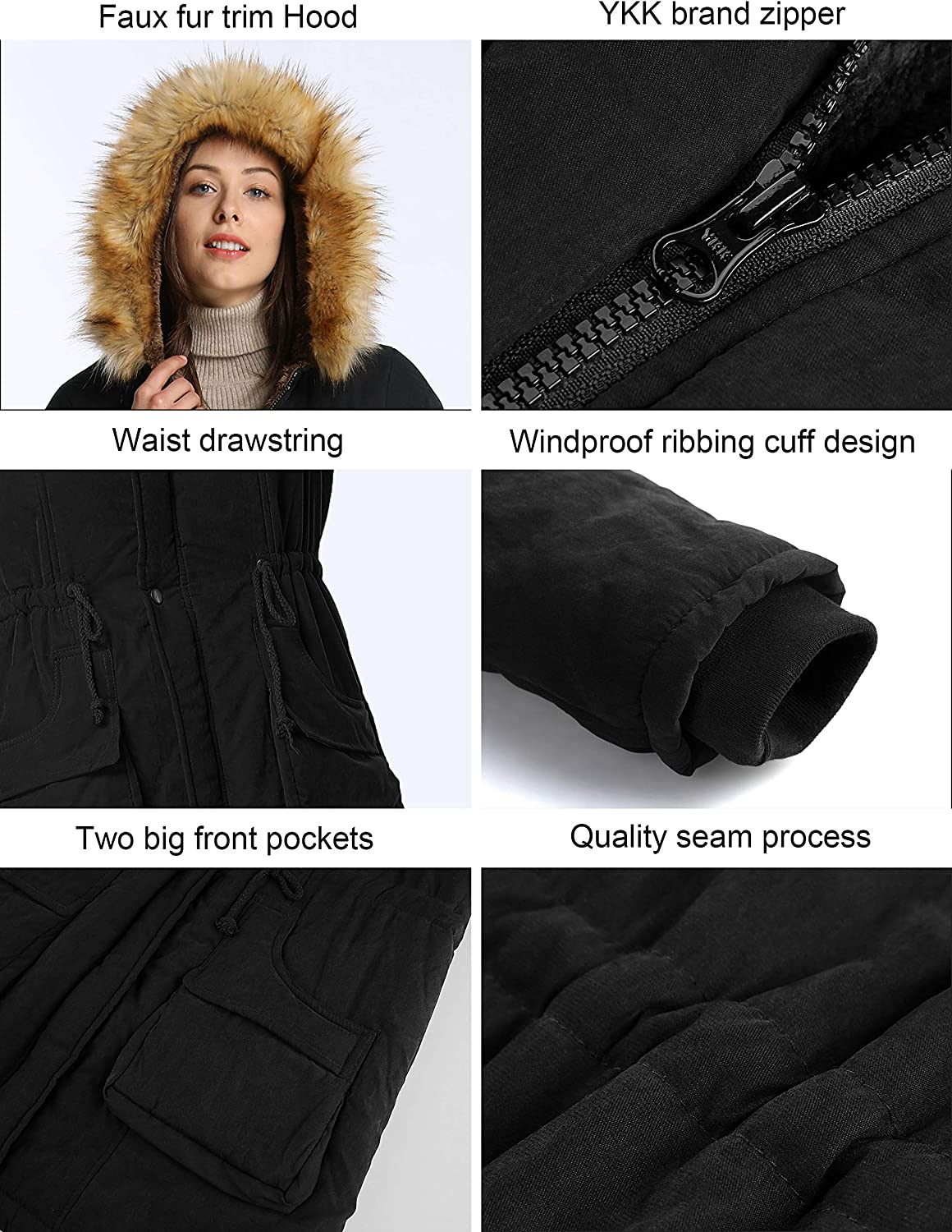 iloveSIA Womens Hooded Warm Coats Parkas with Faux Fur Jackets: Clothing