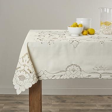 Violet Linen Sapphire Embroidered Design Tablecloth, 60  x 105 , Beige