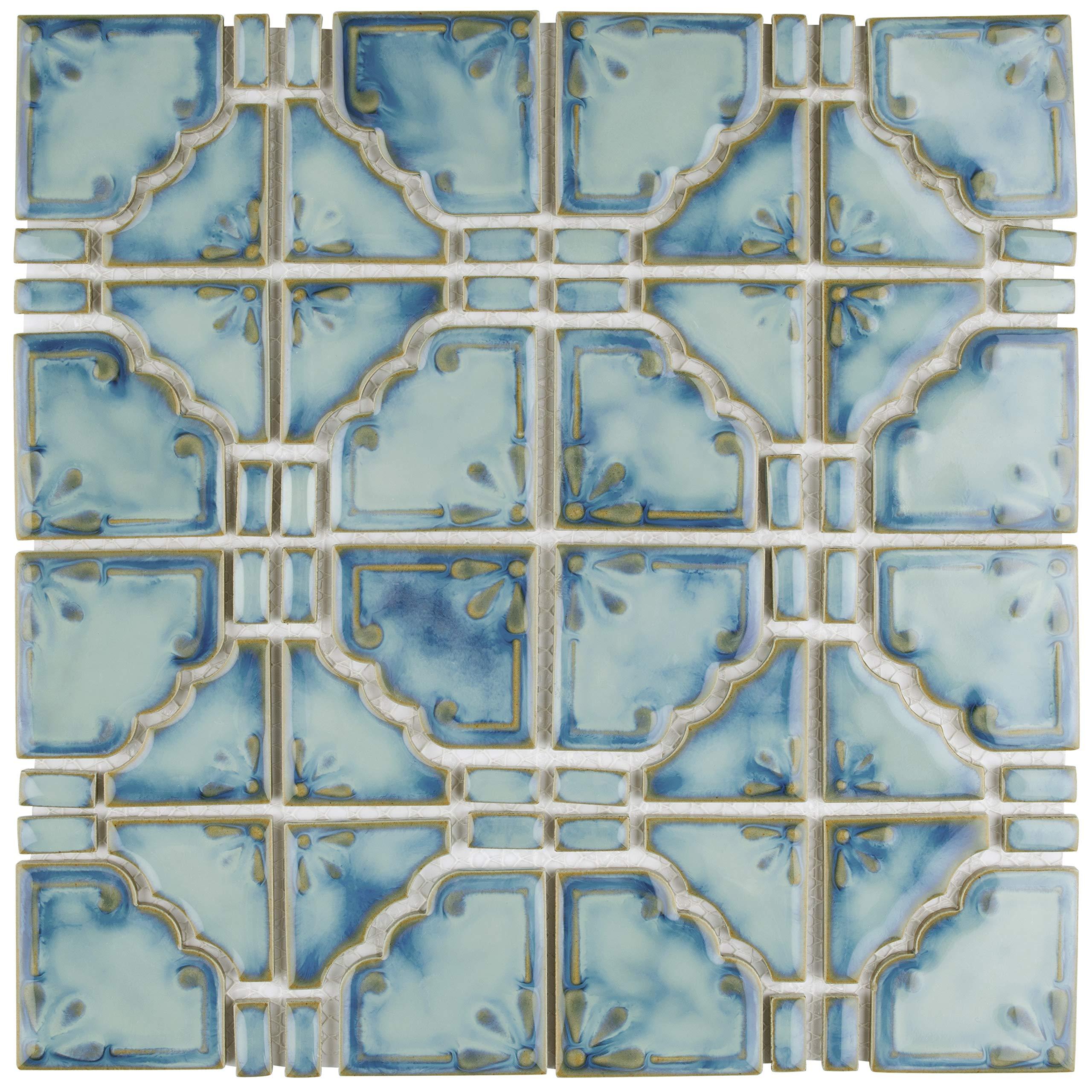 SomerTile FKOMB21 Moonlight Diva Porcelain Floor and Wall Tile, 11.75'' x 11.75'', Blue