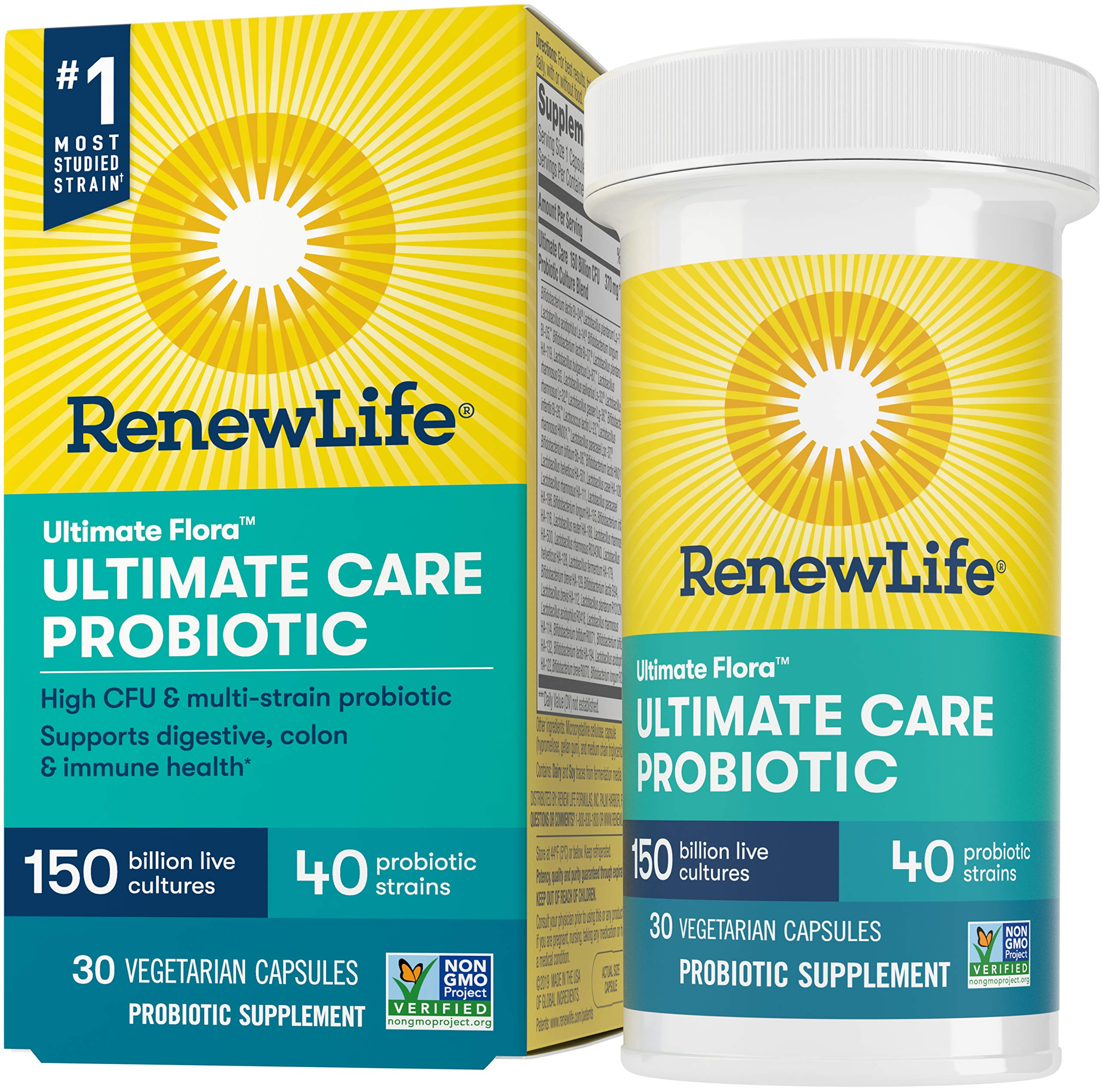 Renew Life Ultimate Flora Adult Ultimate Care Probiotic, 150 Billion, 30 Caps (Package May Vary)
