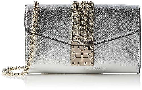 221243a86f Guess Prisma Clutch Borsa a tracolla Donna, Argento (Silver) 23x13x4 cm (W  x H x L): Amazon.it: Scarpe e borse
