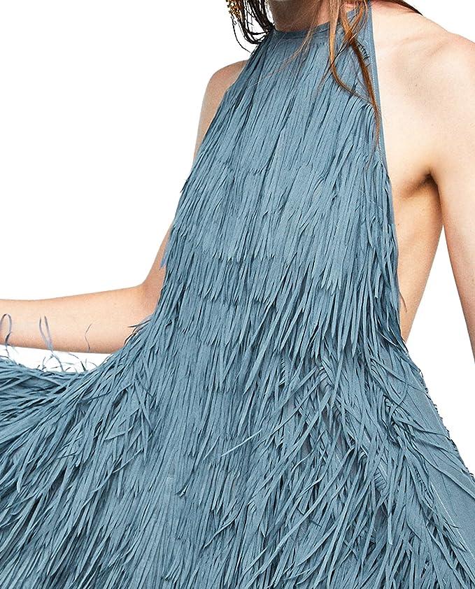 ZARA NEW HALTER DRESS WITH FRINGING 2488//103