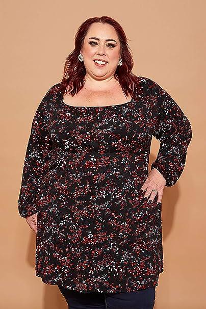 Yours Clothing Damen Übergröße Rot Gänseblümchen-muster Jersey T-Shirt