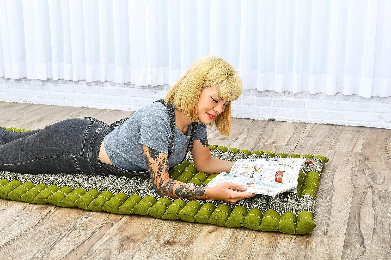 Kapok Noir Matelas Dinvit/é Tapis De Yoga Matelas De Massage Produit Naturel Et /Écologique 200x76x5 cm Leewadee Tapis Tha/ï Enroulable