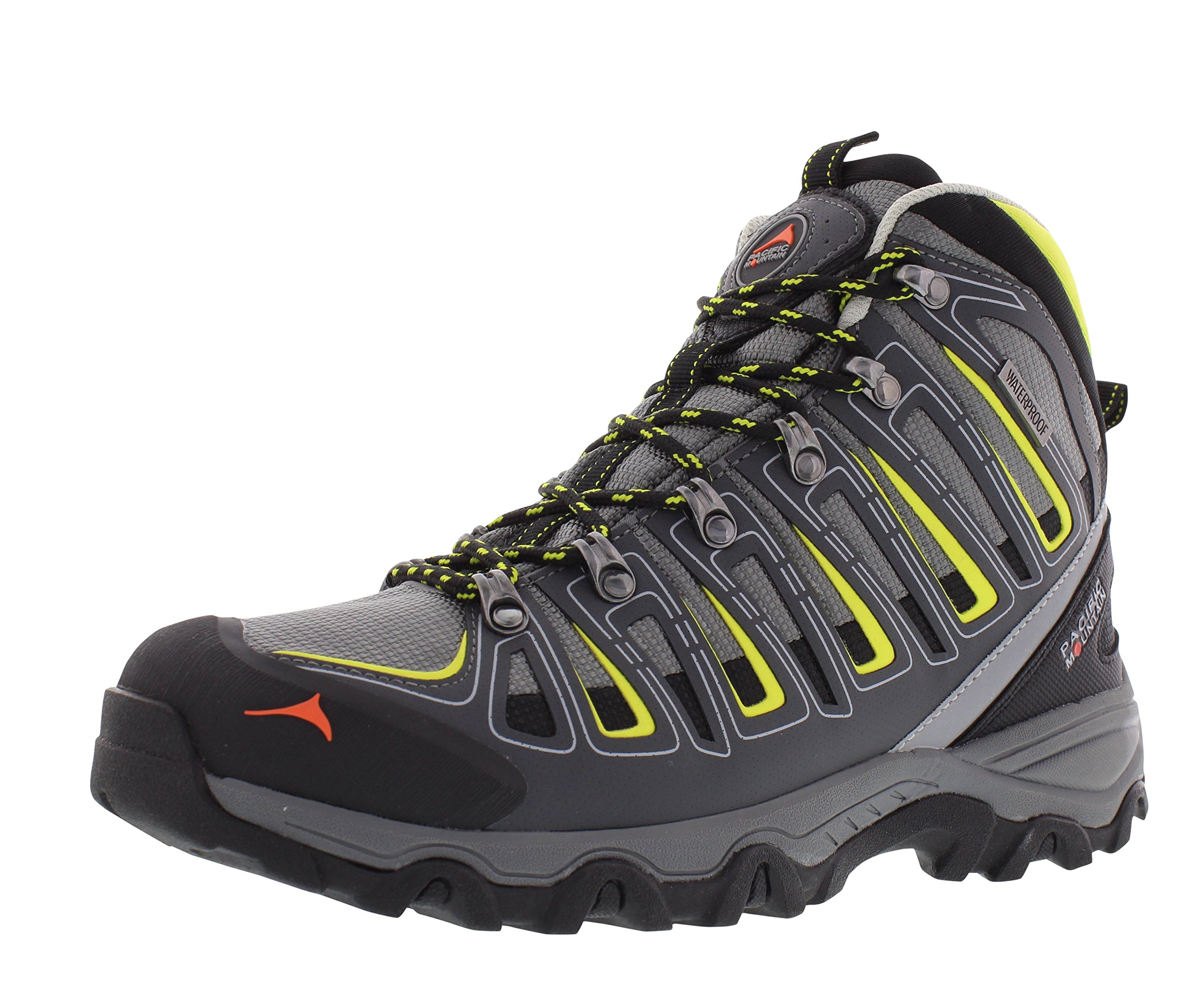 Pacific Mountain Incline Men's Waterproof Hiking Backpacking Mid-Cut Grey/Yellow/Black Boots Size 10.5 by Pacific Mountain