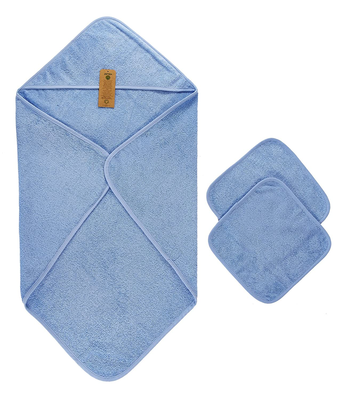 Arus cappuccio Set asciugamani per Babies, 1asciugamano con cappuccio 2guanti, Baby asciugamano con cappuccio, Baby asciugamano da bagno, prodotto certificato GOTS in 100% spugna di cotone bio