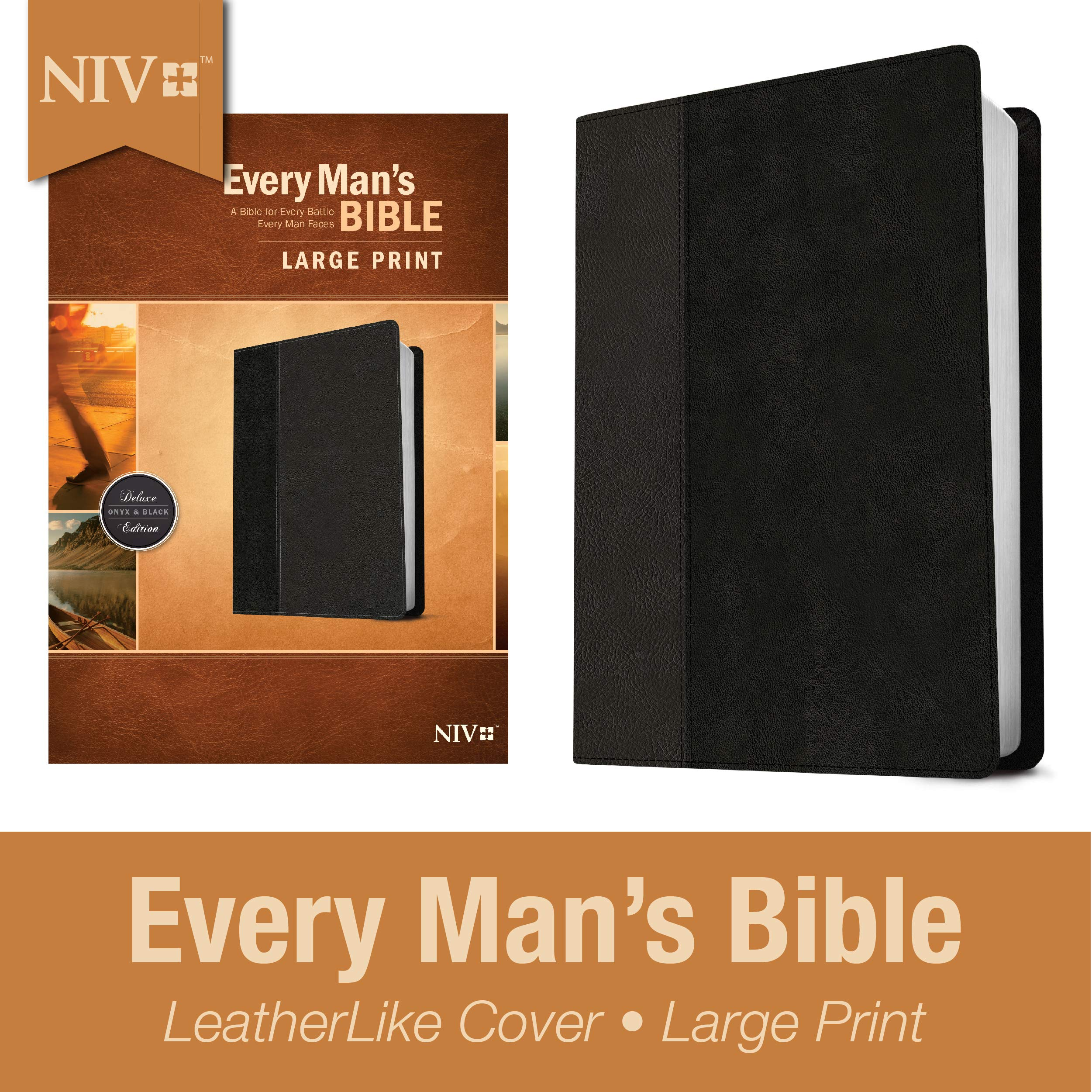 Every Man's Bible NIV, Large Print, TuTone (LeatherLike, Onyx/Black) – Study Bible for Men with Study Notes, Book…