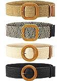 4 Piezas Cinturones de Cintura Elástico de Tejido de Paja Cinturón de Vestir Flaco de Mujer Banda de Vestido de Cintura…