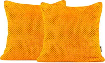 Pile Henry 2 * 45x45 cm Poliestere Orange DecoKing 2 federe 45 x 45 cm in Microfibra con Chiusura Lampo