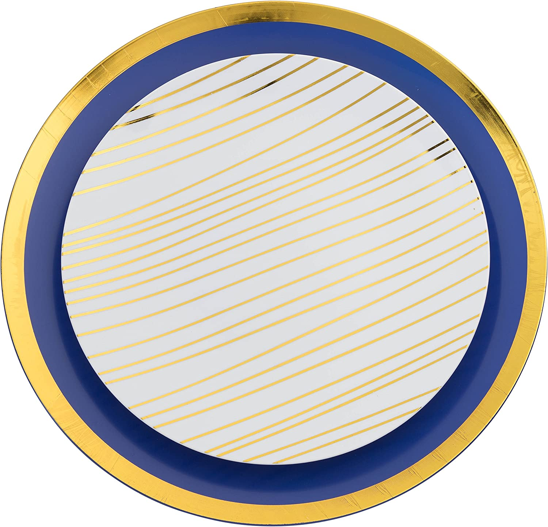 Trendables 60 - Pack Combo Premium Disposable Plastic Plates, Food Grade Plastic Dinner Plates - Glam Design Includes: 20 x 10.25