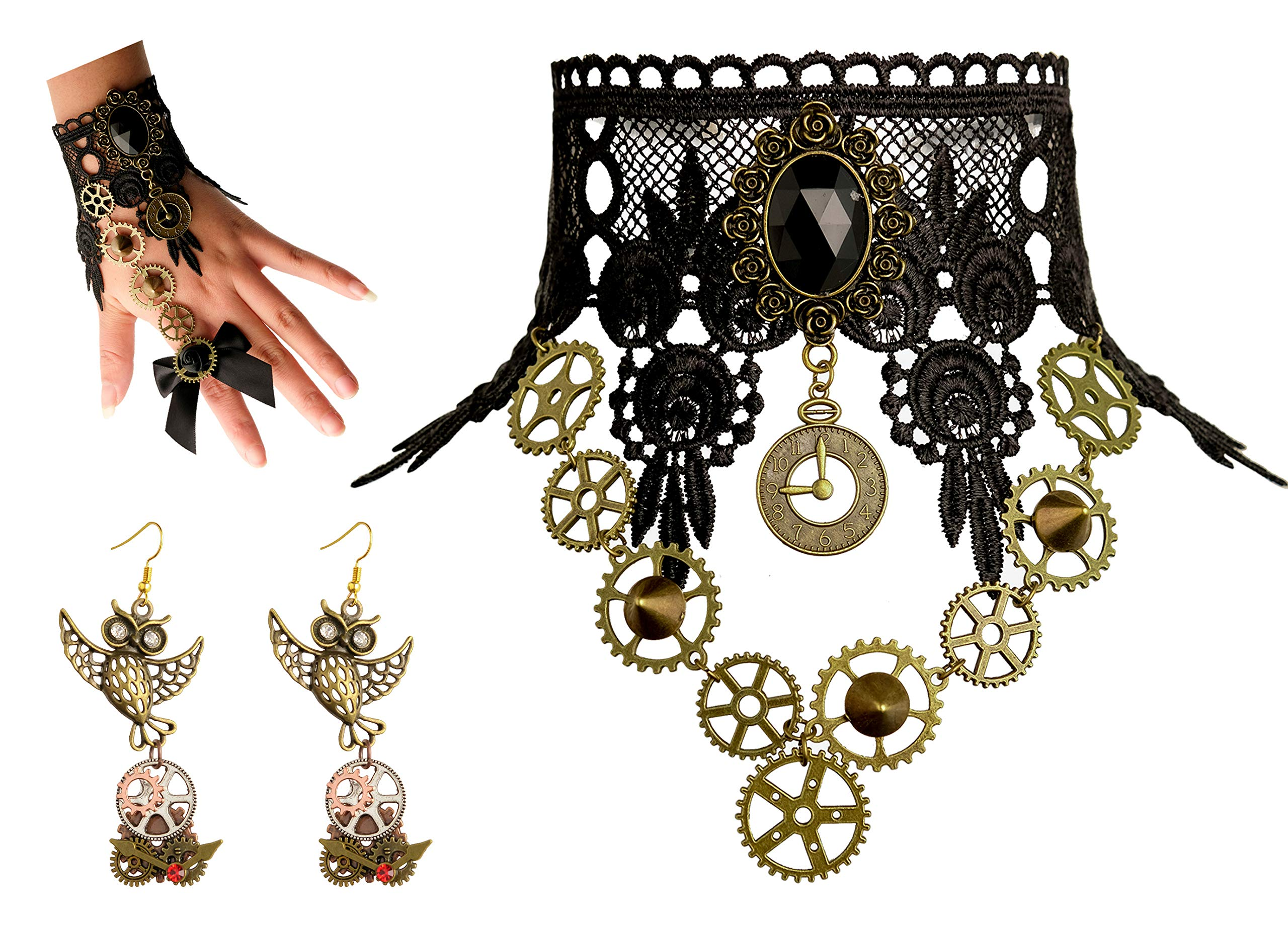 Zivyes Steampunk Accessories for Women Victorian Costume Gothic Lolita Choker Necklace Bracelet Earrings 3