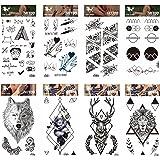 GGSELL GGSELL tatouage 8pcs bande dessinée et tatouages temporaires totem en un paquets, y compris le loup, cerf, tigre, rose noire, fleurs, totem Graphiques tatouages temporaires