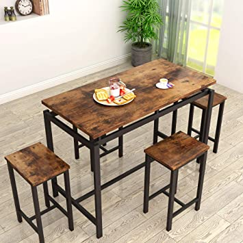 Amazon Com Mieres Dining Table Set For 4 5pcs Kitchen Counter With Bar Stools Sturdy Metal Frame Home Pub Living Room Breakfast Nook Furniture 34 7 H Vintage Brown Tables