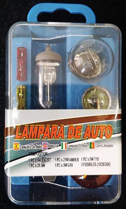 KIT JUEGO DE LUCES DE REPUESTO PARA COCHE H1, H3 o H7 + BOMBILLAS INTERMITENTES FUSIBLES 12V (H4): Amazon.es: Electrónica