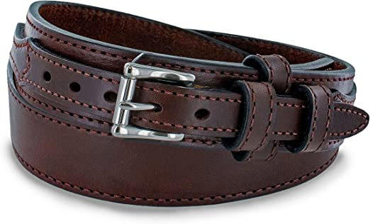 "Men/'s Genuine brown Bison leather belt 1 1//2/"" 5 yr warranty made in the USA"