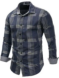 Tymhgt Mens Ripped Plaid Denim Long-Sleeved Distressed Button Down Shirts