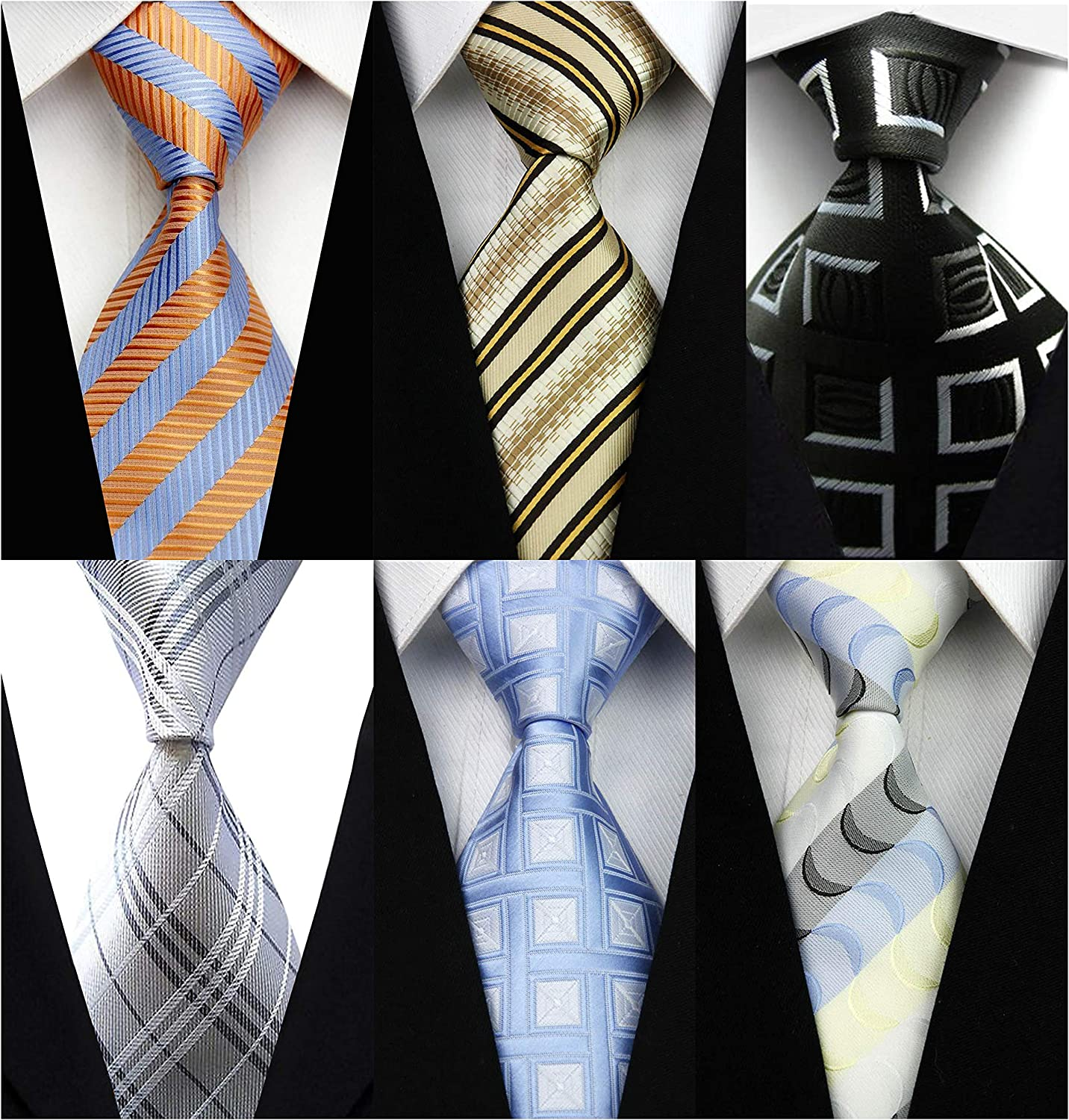 Veegood Mens Classic Neck Ties for Men 6 Pack Classy Mens Tie Woven Jacquard Ties Party Suit